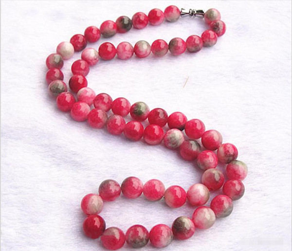 Natural candy color peach jade red and green treasure pink bead necklaces Women crystal jewelry hanging chain