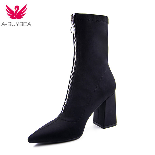 0a6f8a8c9ca 2018 New fashion Mid-Calf Stretch Fabric Sock Boots Women Pointed Toe High  Heel Women Boots Brand Design Winter