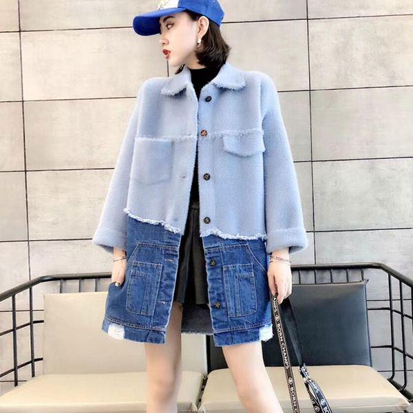 Winter Women Sweater Long Coat Denim Stitching Knit Cardigan Overcoat Thick New Imitation Water velvet Lady Plus size Jacket 113