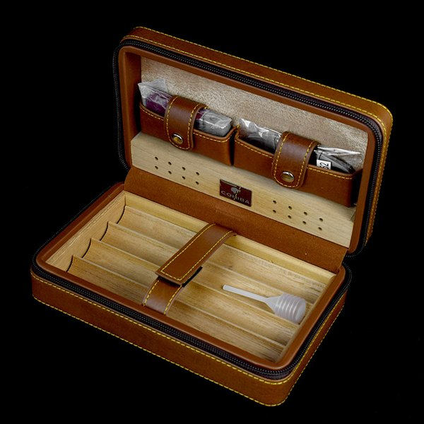 best selling New COHIBA Cigar Humidor Cedar wood humidor Carrying travel packets Can installed 4 pcs cigar with Lighters and cigar cutters