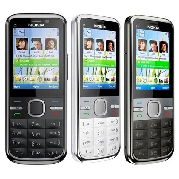 Refurbished Original Nokia C5-00 Unlocked Mobile Phone 3.15MP Camera 3G Bluetooth FM GPS Bar Cell Phone Free Post 1pcs