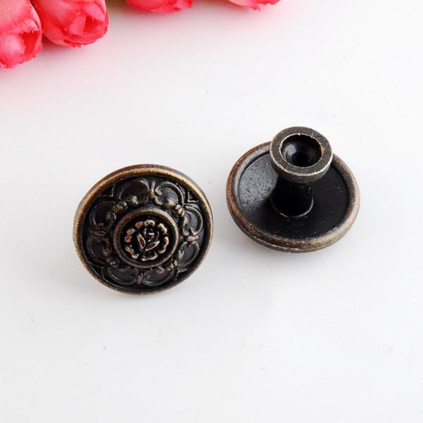 Spedizione gratuita 2 pz gioielli scatola di legno pull handle dresser cassetto per porta dell'armadio rotondo bronzo antico 30x22mm f1009