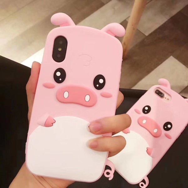 3D Soft Silicone Rubber pink pig Cartoon Phone Case for iPhone X/iPhone 6 6S 7 8 Plus Funny Animals cute cartoon pig Case Cover