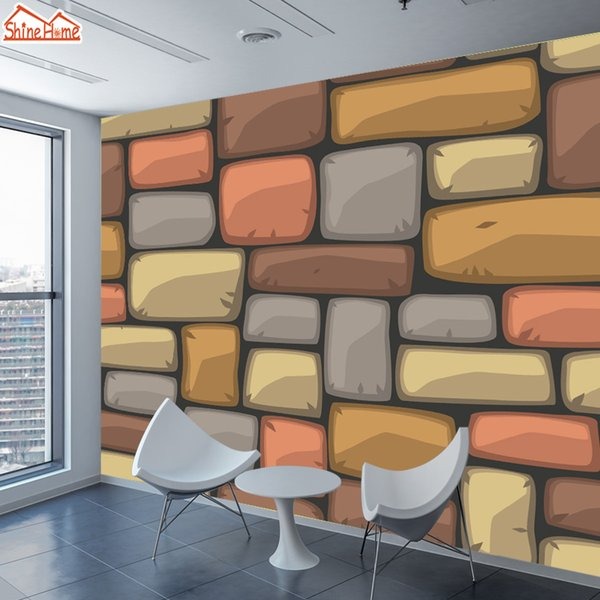 ShineHome-Large Custom Brick Block Stone Cartoon Wallpapers for Wall 3 d Kids Girl Boy Living Room Bedroom Household Murals Roll