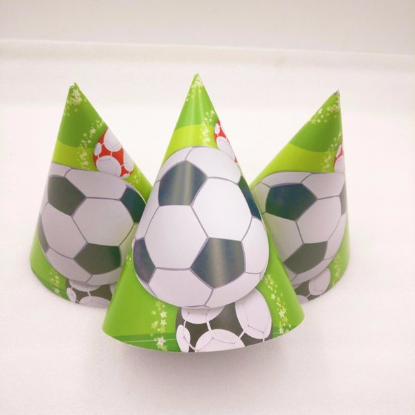 6pcs/bag boy Football Theme Party Paper Hats Caps For Kids Children Birthday Party Decoration Supplies Soccer Favors Set