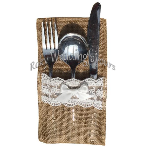 12pcs Cuchillo de yute de yute de yute de bolsillo Cuchillo de arpillera y tenedor Bolsa de vajilla de boda de la vendimia 4