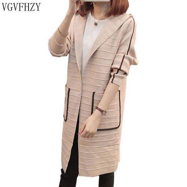 2018 Autumn Winter Women Long Sleeve Knitted Cardigan Sweater Women Thick Warm Hooded loose Pull Femme Sweater Feminine Coat