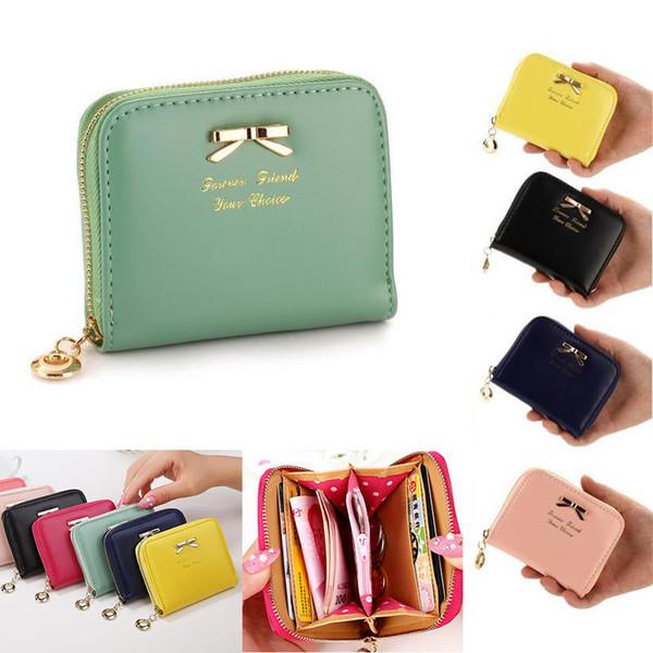 Marca de alta calidad de la cartera mujeres Bowknot monedero pequeño PU Artificial billetera de cuero cremallera femenina monedero