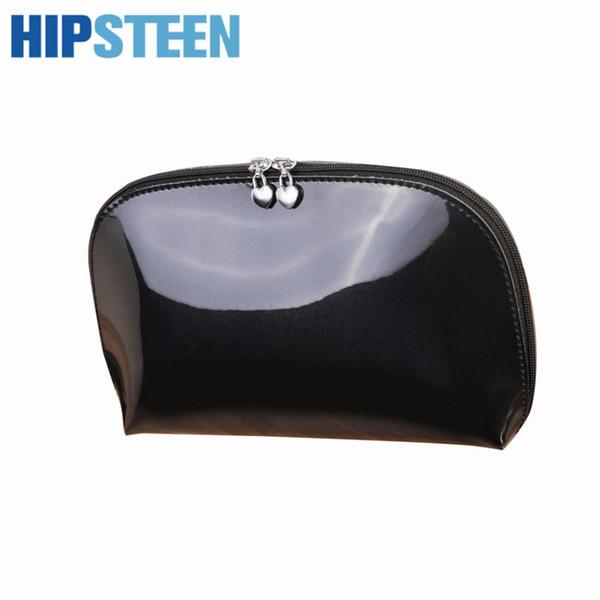 HIPSTEEN Portable Fashion Women Cosmetic Bag Durable Travel Organizer Storage Cosmetics Case Makeup Make Up Bag - Black Red