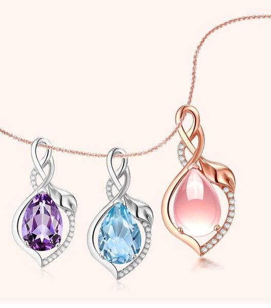Very Beautiful Necklace South Korea Fashion Pink Crystal Necklace Plated Rose Gold Hibiscus Stone Topaz Female Style Pendant Pendant