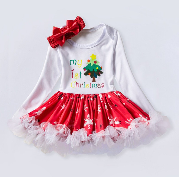 2019 Christmas tree decoration High-quality Snowflake baby climbing suit long sleeve 0-2 year old baby dress Christmas gift
