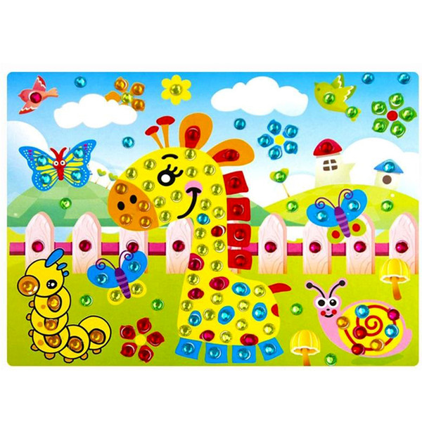 top popular 2Pcs DIY Diamond Sticker Handmade Crystal Diamond and Paper Sticker Paste Painting Mosaic Puzzle Earily Enducation Toys for Kids 2020