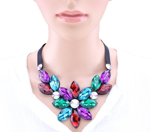 Statement Jewelry Adjustable Black Ribbon Big Rhinestone Crystal Flowers Choker Necklaces Pendants Shiny Bib Necklaces For Women