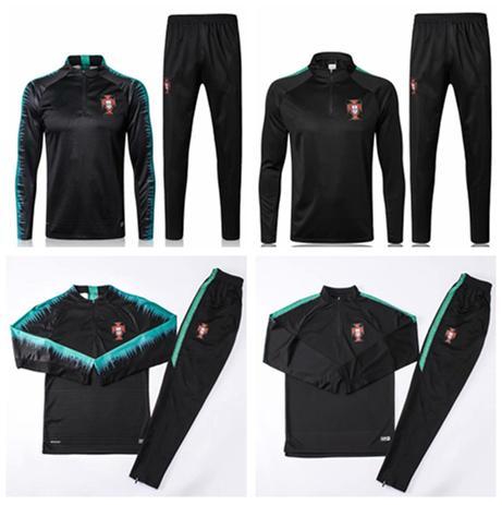 PORTUGAL treino 2018 Copa Do Mundo RONALDO preto 18-19 Portugal treino terno calças de treinamento de futebol roupas sportswear homens Camisola set