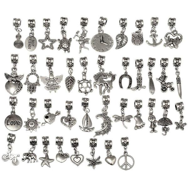 40/80/120Pcs Tibetan Silver Color Connector Bails Mix Beads with Pendant fit European Charm Bracelet DIY