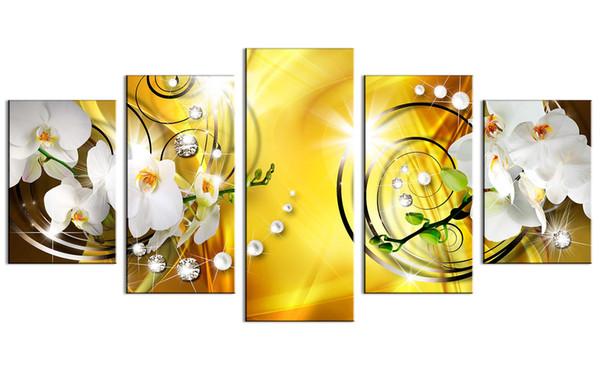 Flower Canvas Print Art Wall Decor Picture 5 Pannelli White Orchid Floral Painting Contemporary Diamond HD giallo Artwork per camera da letto Incorniciato