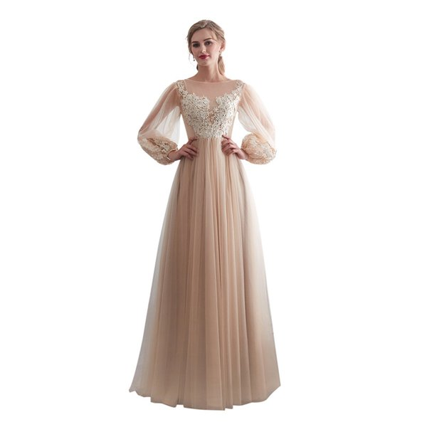 Elegant Tulle Champagne Scoop Neck with Appliques Full Sleeves Floor Length Zipper robe de soiree One-piece Prom Party Dress