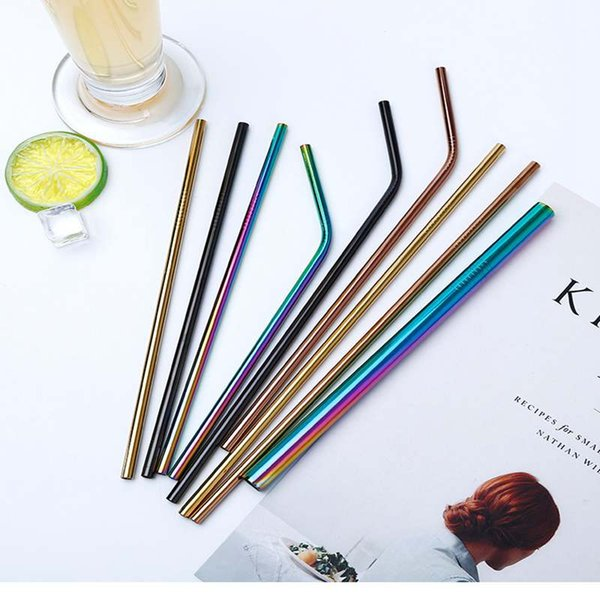 best selling Colorful Stainless Steel Drinking Straw Bent Straight Reusable Straws For Coffee Mason Jars Smoothies Eco Friendly Straws Bar Drinking Tool