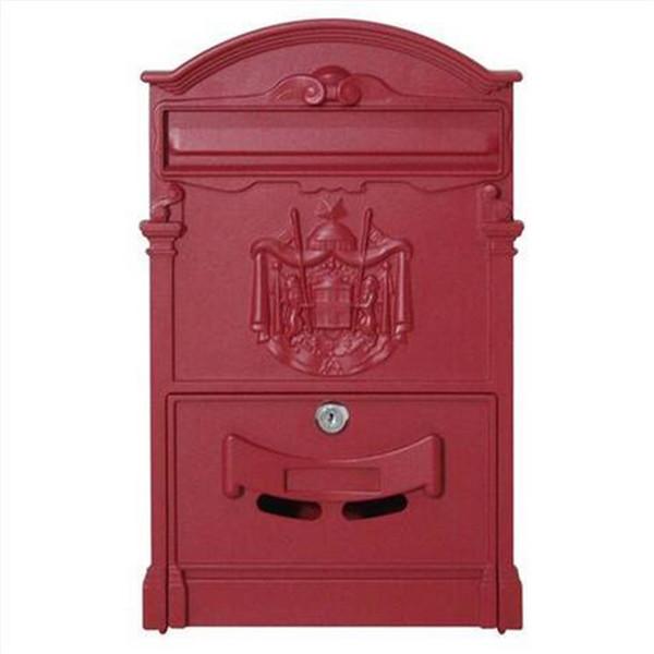Großverkauf Freies Verschiffen Haushaltswaren Gartenbedarf Briefkasten Eisen Briefkasten Briefkasten mit Schloss 2pcs Schlüssel rot