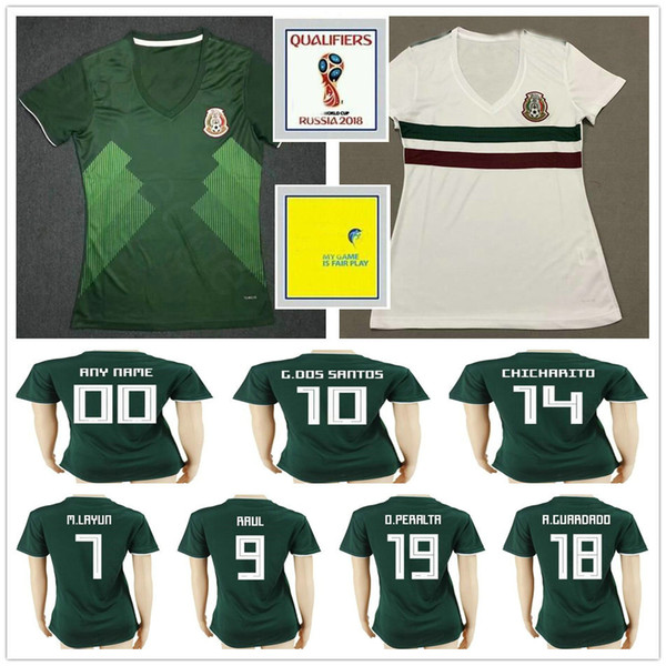 2018 Coupe du Monde Femmes Mexique Maillot de Football 10 G.DOS SANTOS 14 CHICHARITO GUARDADO PERALTA AGUILAR Personnalisé Dames Hommes Enfants Football Maillot