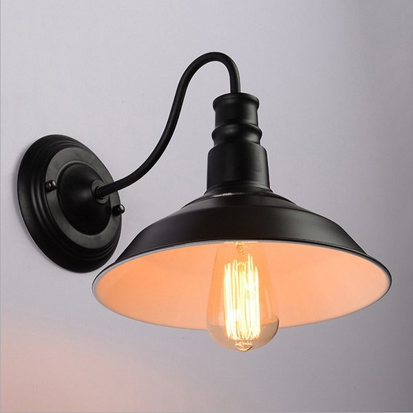best selling American Iron Cover Wall Lamp E27 Lamp Holder 110-240V Coffee House Dining Hall Foyer Shop Vintage Indoor Lighting