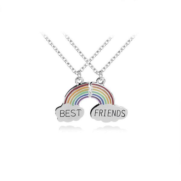 Fashion 2 Piece Enamel Rainbow Cloud Pendant Necklace Best Friend Necklace Set Good Friendship Jewelry Gift For Friends Collares
