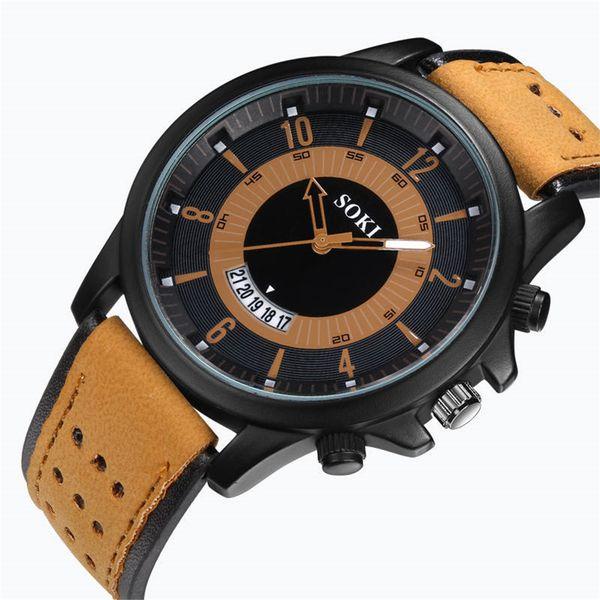 2018 SOKI Fashion Watches Men Casual Military Sports Watch High quality Quartz Analog Wristwatch erkek kol saati Relogio Masculino