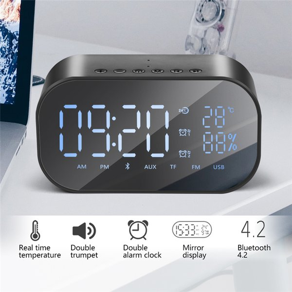 Digital Alarm Clock Radio Bluetooth Speaker for Bedroom with Thermometer LED Display Dual Alarm TF Card Slot FM Radio/AUX-IN