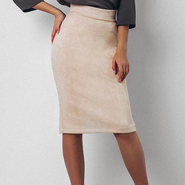Women Split Vintage Bodycon Skirt High Waist Women Knee-Length Pencil Skirts OL Office Elegant Skirts Split Female KH841490