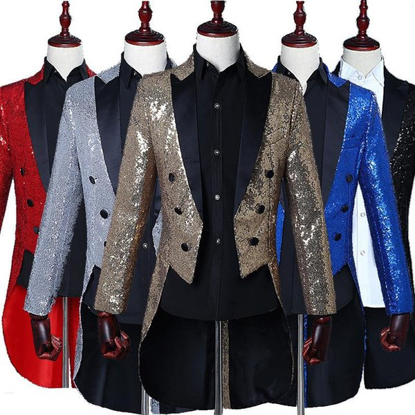 Men Sequin Blazer Tailcoat Stage Singer Prom Dresses Costume Wedding Groom Suit Jacket Slim Fit Coat Golden Silver