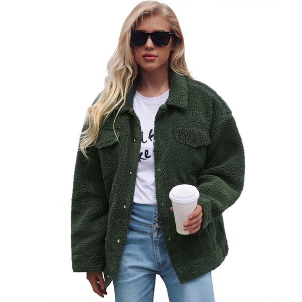 2018 Winter Women Fleece Faux Fur Jacket Coat Solid Turn Down Collar Jacket for Women Long Sleeve Parka New Outerwear Warm Coats