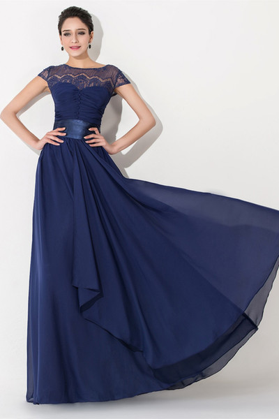 Elegant Chiffon Lace Navy Blue Long Bridesmaid Dresses Short Sleeve Fitted Sash Evening Gowns Plus Size Maid Of Honor Dresses Under 100