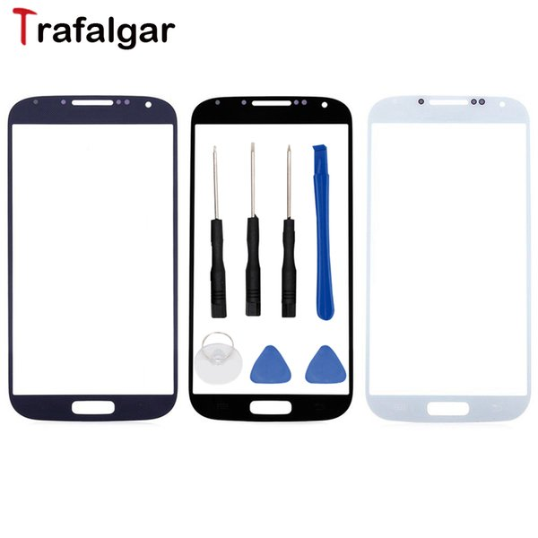 "For Galaxy S4 Front Screen Glass Lens i9500 i9505 Touch Panel Outer Cover For 5.0"" S4 Front Glass Lens"