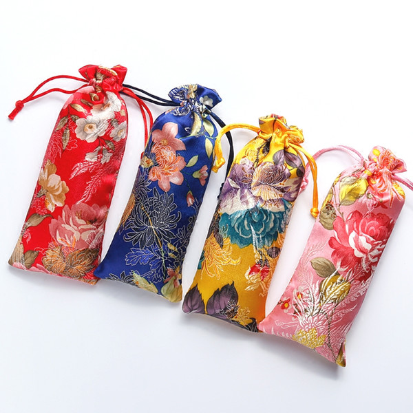 Lengthen Flower Drawstring Pouch Brocade Bag Chinese Silk Fabric Gift Bag Pouches Wood Comb Jewelry Necklace Storage Bag 7x18cm 50pcs/lot