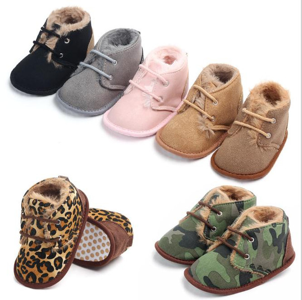 Winter 0-1 years old rubber bottom non-slip baby warm plus velvet baby Toddler Footwear Solid Boots Prewalkers