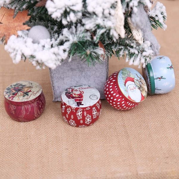 Nueva caja de dulces de Navidad caja de dulces de hierro de decoración Caja de muñecos de nieve santa caja de dulces caja de regalo de hojalata redonda Favor de fiesta