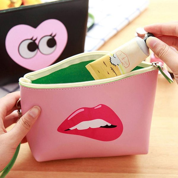 Cartoon Pattern Faux Leather Travel Wristlet Makeup Cosmetic Holder Bag Pouch
