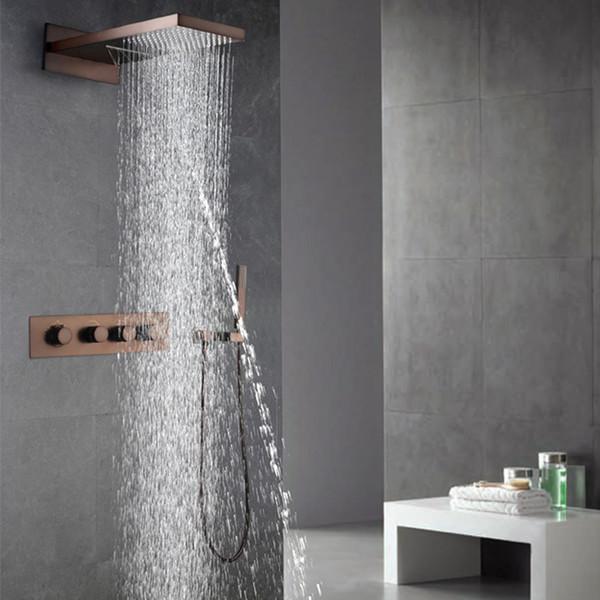 Petróleo Friccionada Bronze Torneiras Do Chuveiro Set Rainfall Cachoeira Cabeças de Chuveiro ORB Banheiro Chuveiros Fixado Na Parede Chuva Mão Segure o Chuveiro