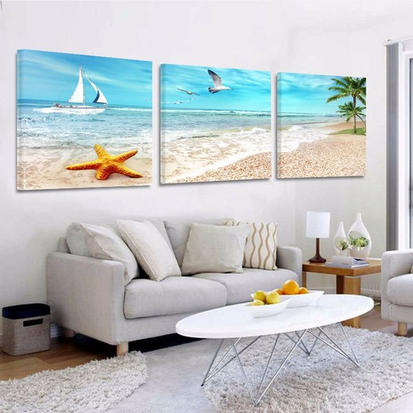 Sunlight beach coconut tree Crayon drawing Wall Art Canvas Painting Poster Wall Pictures Living Room Home Decor Modular Pictures