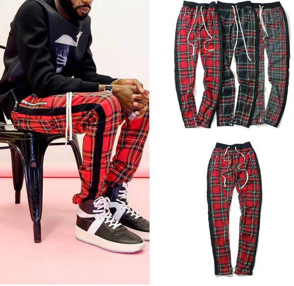 High Street Vintage Plaid Jogger Hosen Angst vor Gott Streifen Hosen für Männer FOG Slim Fit Bleistift Hosen Mens Branded Hip Hop Streetwear