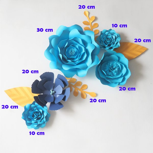DIY Blue Giant Paper Flowers Backdrop Artificial Handmade Flower 5PCS+Leaves 4PCS Wedding & Party Deco Home Decoration Video