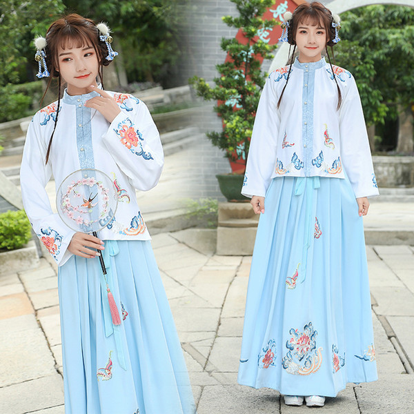 b1ebc0211 Ancient China Girl's Cotton Retro Long Maxi Skirt Vintage A-Line Pleated Skirt  Flowers Pattern