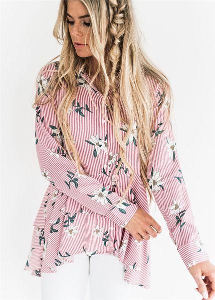 Women T shirt 2018 DHL Women Striped Floral Button Down Asymmetrical Ruffle Hem Long Sleeve Cotton Tops Blouse Shirt
