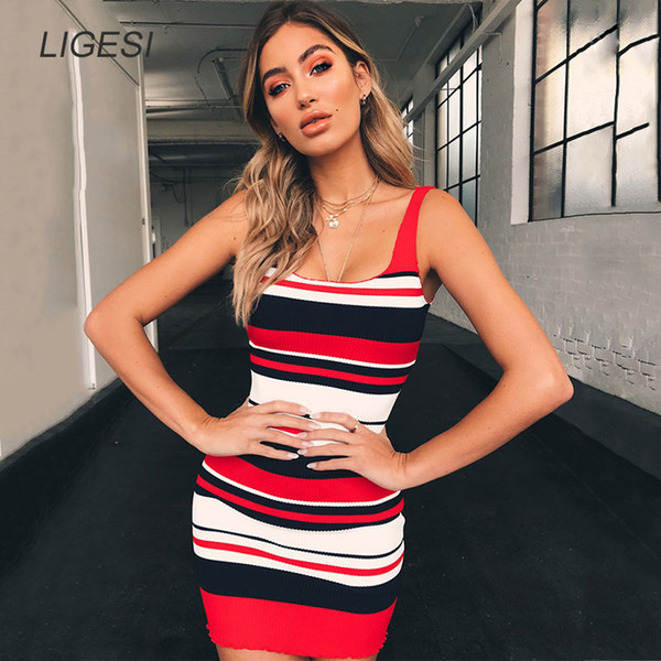 Women Bodycon Red Knitted Dress Sexy Sleeveless Backless Ribbed Mini Dress Casual Striped Party Vestidos 2018 Autumn