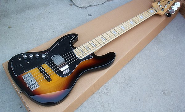 Wholesale Direct 5-string Left Hand Sunburst Electric Bass Guitar with Black Pickguard,Maple Fretboard,can be customized