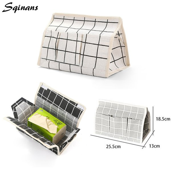 Sqinans Cotton Linen Tissue Storage Box Holder Waterproof Moisture Tissue Cover