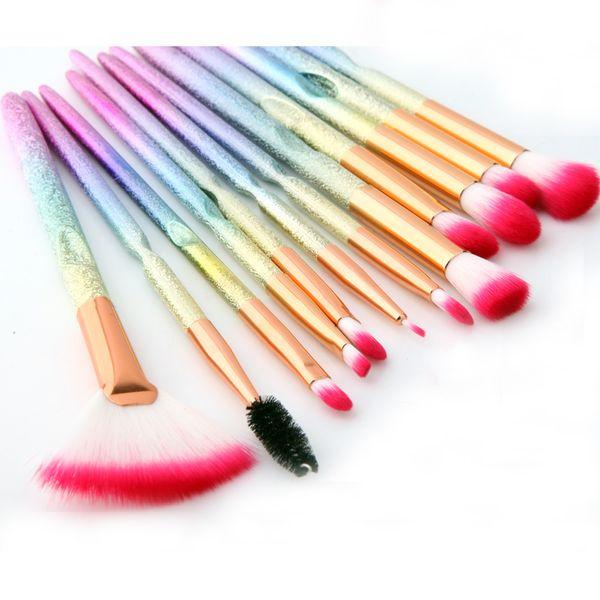 Makeup Brushes Sets Colorful Handle 12pcs Eyebrow Blending Lipstick Blush Contour Powder 3D Rainbow Cosmetic Tool Kits