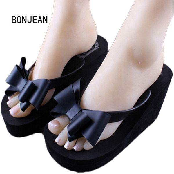 Women Shoes in Women's Slippers Summer Flip-flops Female Wedges High Heels Shoes Beach Bowtie Slippers Drages Sandals Platform
