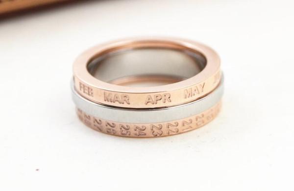 New Rotary Silver White Titanium Steel Rose Gold Letter Titanium Steel Rose Gold Ring Fashion Trend Female Ring