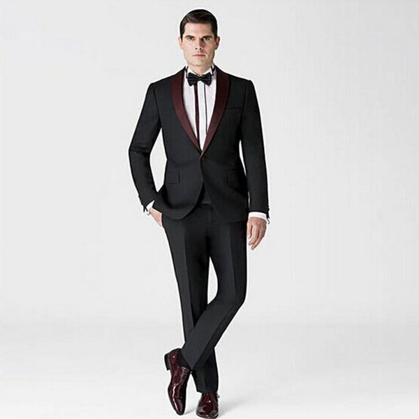Black Groom Tuxedos Men Suits for Wedding Formal Man outfit 2 Pieces Jacket Pants Custom Made New Brand Groomsmen Suits Best Man Blazers